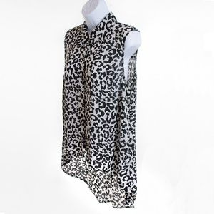 Forever 21 High Low Leopard Print Blouse - Size L